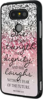Pink Sparkles Glitter LG G5 Case Bible Verse Proverbs 31:25 for LG G5 Case,She is clothed in strength and dignity and she laughs without fear of the future(Black Hard Plastic)