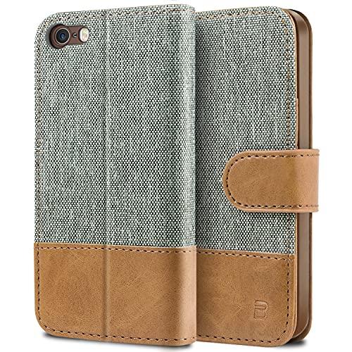 BEZ® Cover iPhone 5S, iPhone 5 SE, Custodia Compatibile per iPhone 5S, iPhone 5 SE,Portafoglio Flip Cover con Chiusura Magnetic - Grigio