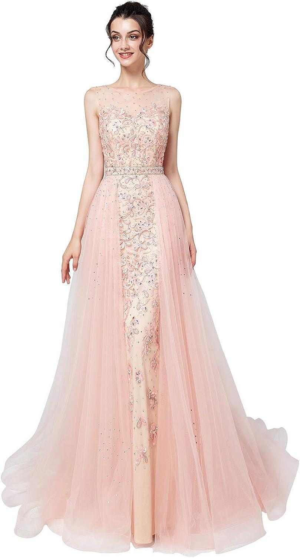 Belle House Women's Long Prom Dress 2019 Mermaid Evening Ball Gown Bridesmaid Dress Sheer Neck Party Dress