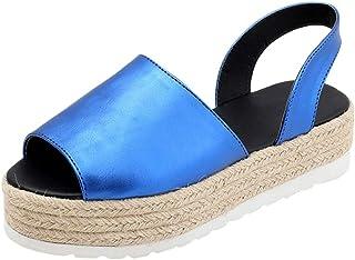 2b90f4b4e3a JJLIKER Women Chunky Platform Flat Sandals Peep Toe Slip On Shoes Summer Espadrille  Non-Slip