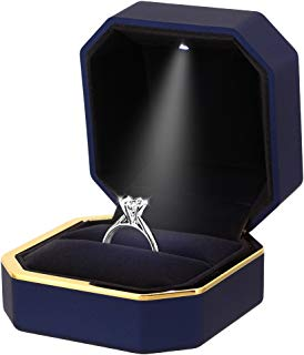 Gabrine Ring Jewelry Box Storage Case Organizer Holder with LED Light for Proposal Engagement Wedding
