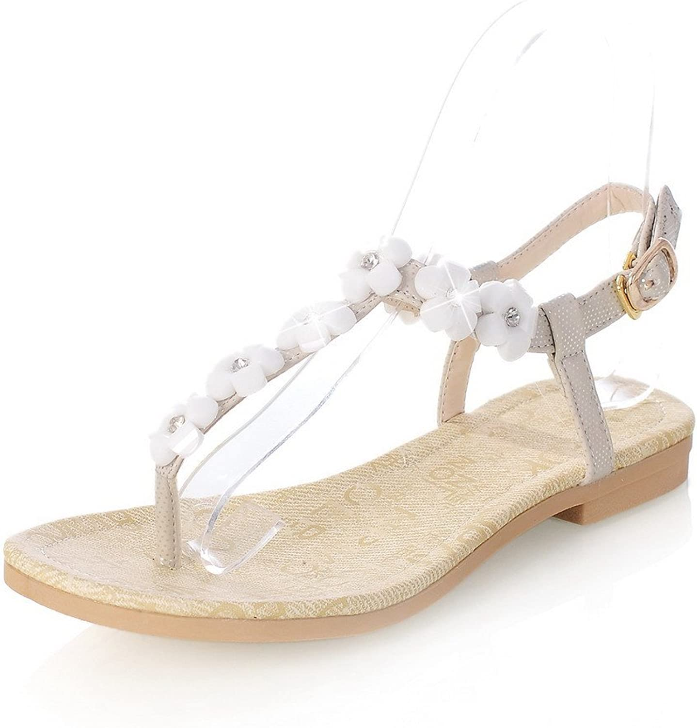 AmoonyFashion Womens Open Toe Low Heel Soft Material PU Solid Thong Sandals with Flowers, White, 7.5 B(M) US