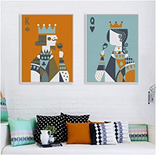 NO BRAND Vintage Art Poker King Queen Love Poster Decoración de Pared Imprimir Lienzo Pintura Picture Home Wall Art Graffiti Decoration-50x70cm Sin Marco