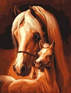 Horse & Baby Needlepoint Canvas A00540 (10CT Penelope,14