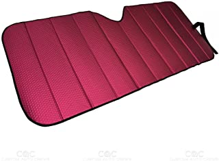 Best Motor Trend Front Windshield Sun Shade - Accordion Folding Auto Sunshade for Car Truck SUV - Blocks UV Rays Sun Visor Protector - Keeps Your Vehicle Cool - 58 x 24 Inch (Red) Review