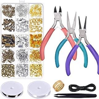 Kit de reparación de joyas Anezus con alicates de joyería, herramientas de bisutería, cuerda de abalorios y joyería, suministros para reparación de joyas, fabricación de joyas y abalorios