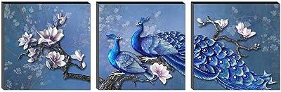 SAF Set of 3 Peacock Flower Designer UV Digital Reprint 12 inch x 36 inch Painting SANFSS18