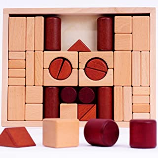 Wooden Building Blocks Educational Toy Sets, 46 Pcs Stacking Game Toys with Wooden Storage Box/Castle Building Planks Set ...