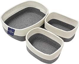 JVL/ Mimbre Juego de 3 /Chunky Home Redondo cestas de Almacenamiento con Asas Natural