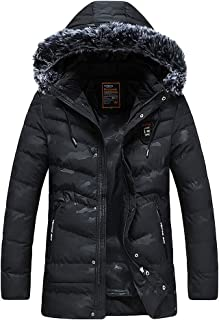 Winter Coat Men's Winter Mid Length Zipper Pure Color Thickened Jacket Hoodie Cotton Padded Coat