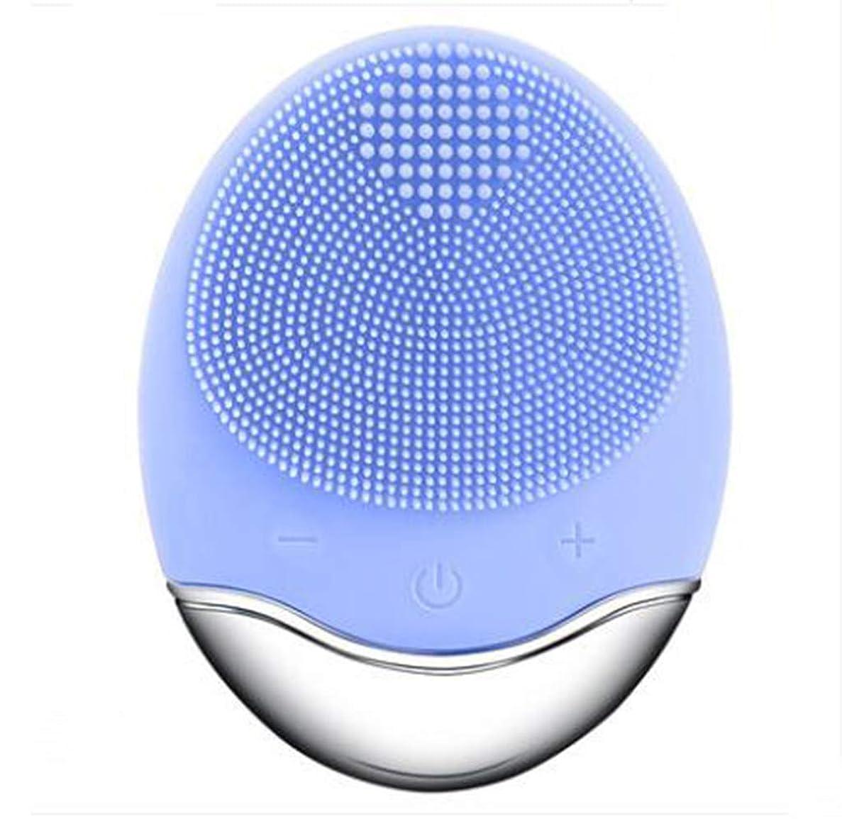 置き場手荷物父方のシリコーン電気クレンジング器具、洗顔毛穴クリーナーマッサージフェイス、イントロデューサー + クレンジング器具 (1 つ2個),Blue
