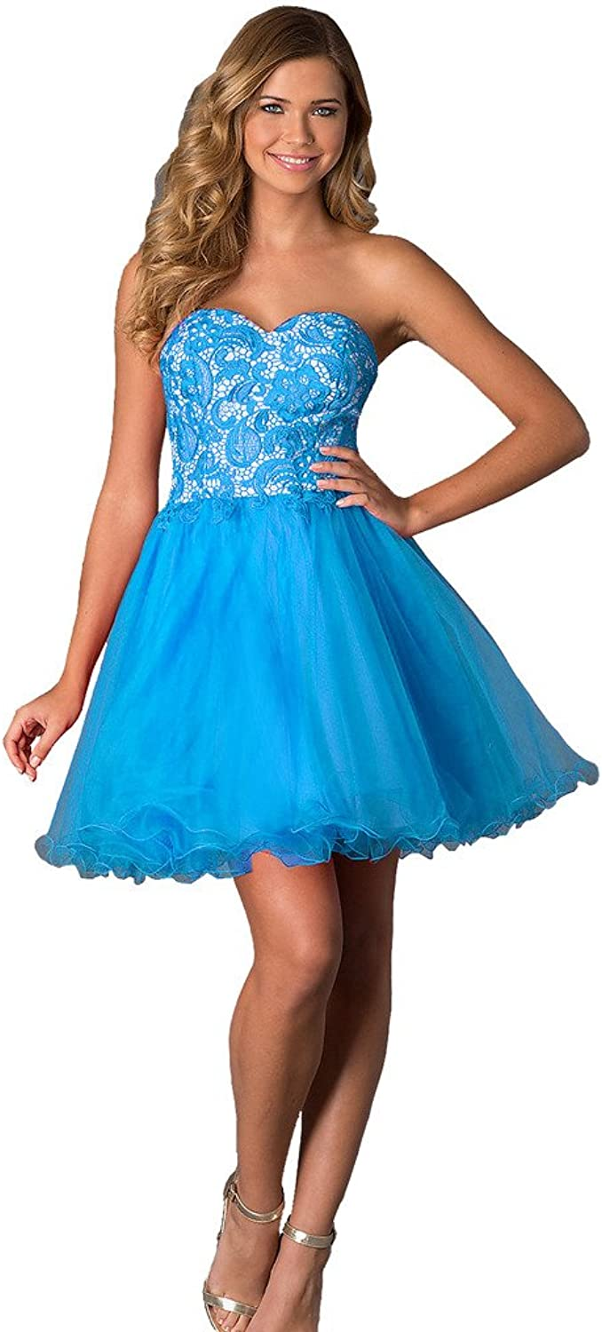 BessWedding Sweetheart Lace Prom Party Dresses 2016 Homecoming Dresses for Girls