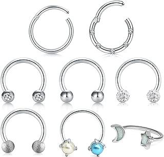 Surgical Steel 16G 8mm 10mm Nose Rings Hoop Hinged Clicker Septum Rings Piercing Horseshoe Hoop Earring Tragus Cartilage Helix Piercing Jewelry