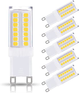 JandCase G9 LED Light Bulbs, 5W (40W Halogen Equivalent), 400LM, Daylight White (6000K), G9 Base, G9 Daylight White Bulbs for Home Lighting (Pack of 5)