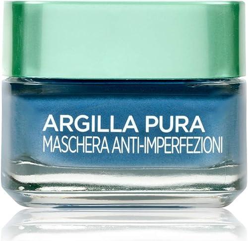 L'Oréal Paris Maschera per il Viso Argilla Pura, Azione Anti-Imperfezioni, Agisce sui Punti Neri e Ristringe Pori, co...