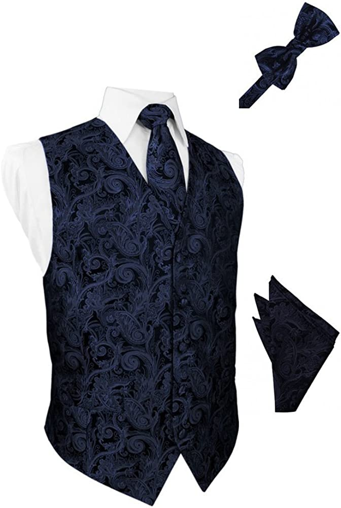 Midnight Tapestry Satin Tuxedo Vest with Long Tie Bowtie and Pocket Square Set