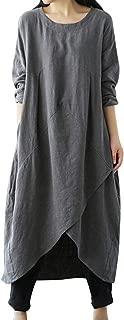 Women Plus Size Long Sleeve Round Neck Cotton Linen Loose Long Kaftan Dress M-4XL