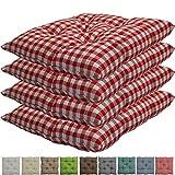 nxtbuy Stuhlkissen 4er Set 38x38 cm Rot Kariert - Gepolstertes Sitzkissen für Indoor und Outdoor -...
