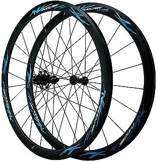 700C 40MMホイール二重壁アルミニウム合金リムクイックリリースV / Cブレーキロード自転車ホイール(フロント+リア)7 8 9 10 1112スピード用 (Color : Blue, Size : 700C)