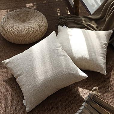 Kevin Textile Decor Lined Linen Pillow Cover Euro Throw Pillowcase Cushion Cover Pillow Sham for Sofa, Hidden Zipper, 18 x18 (2 Pieces, Natural Linen)