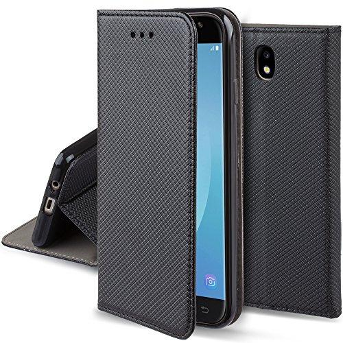 Moozy Cover per Samsung J3 2017, Nero - Custodia a Libro Flip Smart Magnetica con Appoggio e Porta Carte