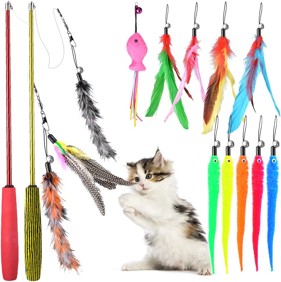 Oziral Cat Feather New life Toys 13PCS with Teaser Replacement Bell Arlington Mall