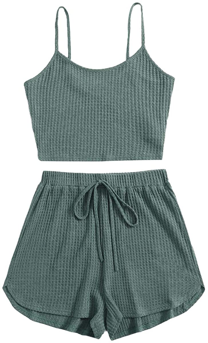 ROMWE Women's 2 Piece Pajama Set Crop Cami Tops and Shorts Lounge Set Outfit