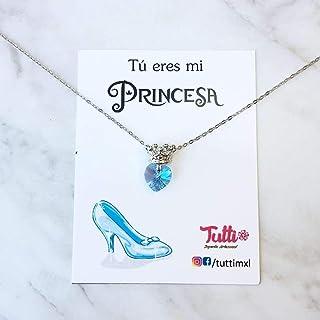 Tutti Joyería - Collar de Princesa Corona con Corazón Swarovski Azul Celeste - Princess Crown Necklace with ligth Blue Swarovski Heart - Collar Princesa - Princess necklace