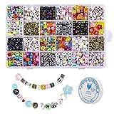 Cuentas de letras, 1200 piezas de letras de alfabeto de acrílico para hacer joyas, kit de...