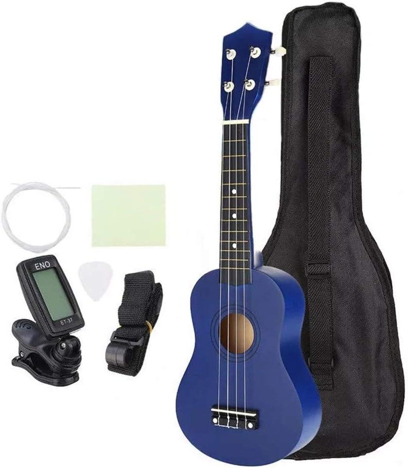 Guitarra Color Azul 21 Instrumentos Musicales Pequeño Hawaii Guitarra Pulgadas Soprano Ukulele Uke Económico con Funda Cuerdas sintonizador Guitarra acustica (Color : Azul, tamaño : 21inch)