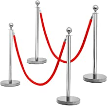 Yaheetech Stanchions and Velvet Ropes Round Top Stainless Steel Stanchion Crowd Control Barrier Posts w/6.5' Red Rope Silver, (4-Pack)