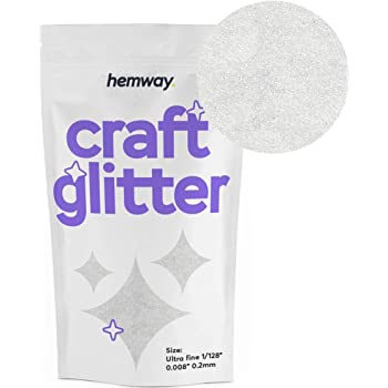 "Hemway Craft Glitter 100g 3.5oz Ultra Fine/Extra Fine 1/128"" .008"" 0.2MM (Crystal Diamond Crystal Diamond White)"