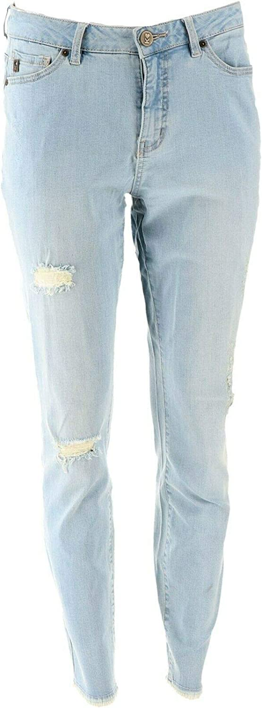 Belle Kim Gravel Tripleluxe Distressed Skinny Jeans Light Wash 24W New A310046
