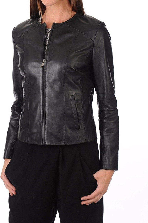 Zafy Leather Women's Leather Jackets Black A17_
