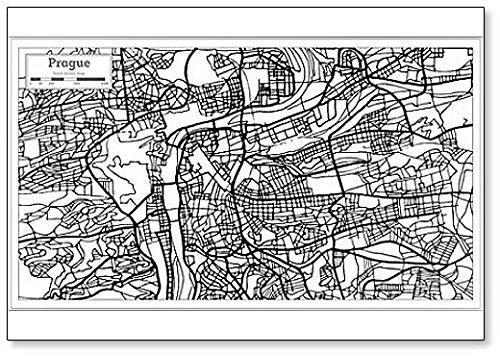Praag City Map Outline - Koelkast Magneet