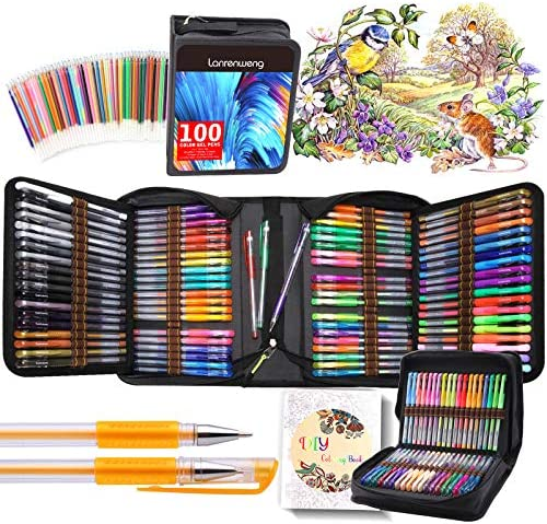 200 Pack Gel pens Set 100 Colored Gel Pen with 100 Refills Fine Tip Glitter Gel pens with Canvas product image