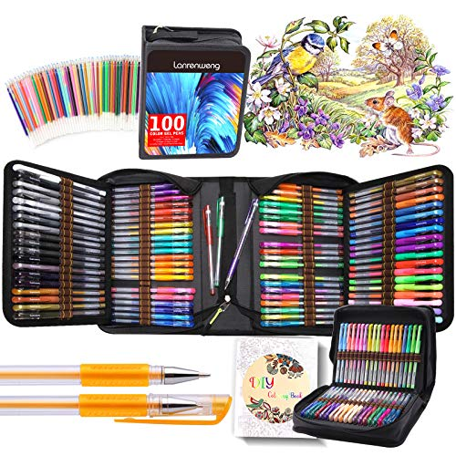 200 Pack Gel pens Set 100 Colored Gel Pen with 100 Refills, Fine Tip Glitter Gel pens with Canvas Bag for Kids Adults Coloring Books Drawing Crafts Scrapbooks Bullet Journaling