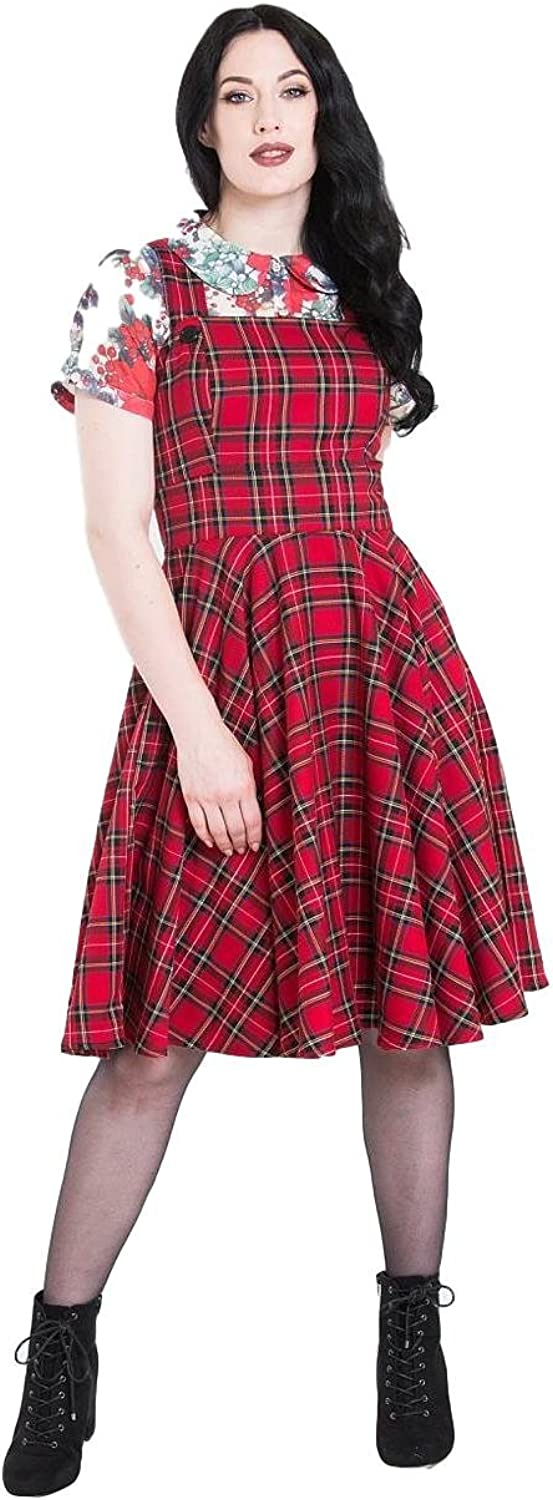 Hell Bunny Irvine Tartan Vintage Retro Pinafore Dress XS4XL