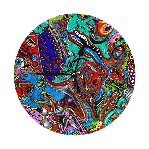OIVLA - Reloj de pared redondo acrílico con forma de burbuja de ácido con cara sonriente silencioso, sin tictac, para niños, niñas, dormitorio, sala de estar, escuela, decoración del hogar