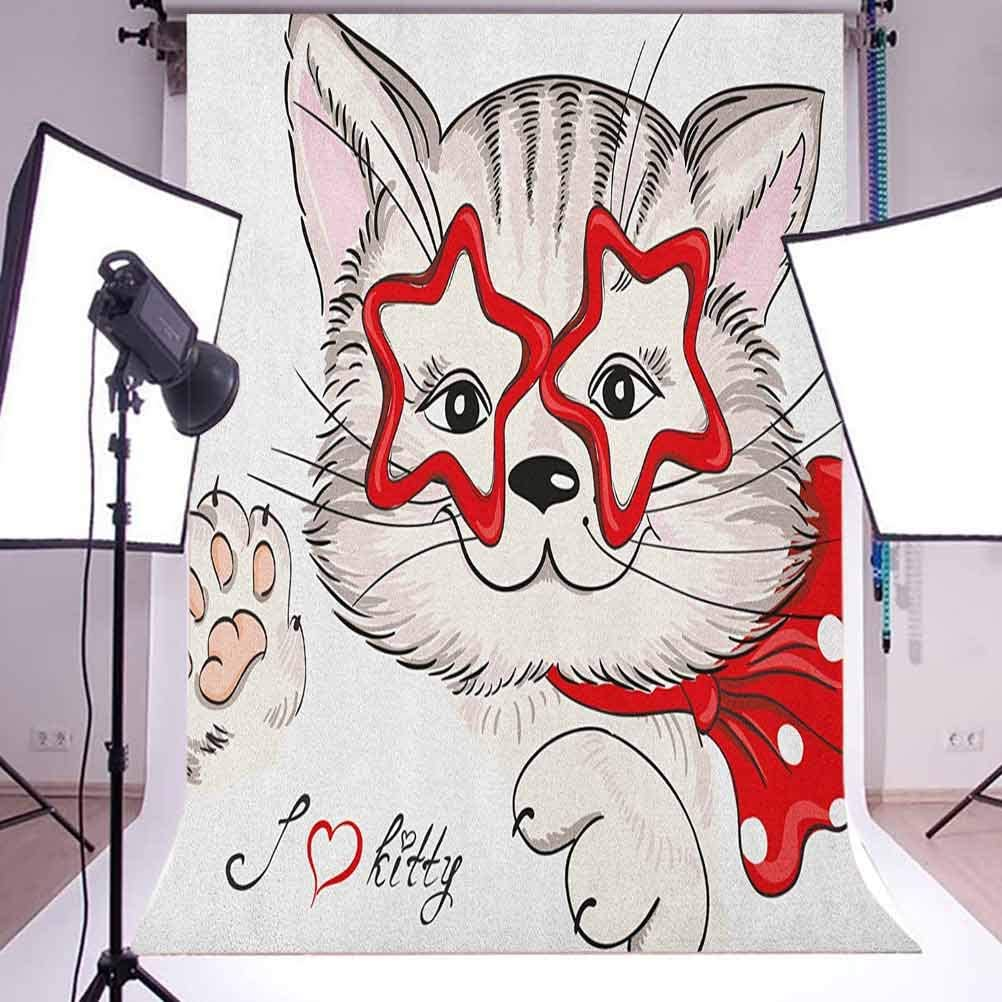 8x12 FT Fox Vinyl Photography Background Backdrops,Paw Print Pattern Background with Childrens Cartoon Cunning Forest Animals Background for Selfie Birthday Party Pictures Photo Booth Shoot