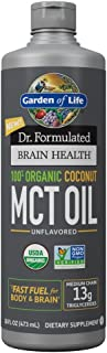 Garden of Life Dr. Formulated Brain Health 100% Organic Coconut MCT Oil 16 fl oz Unflavored, 13g MCTs, Keto & Paleo Diet Friendly Body & Brain Fuel, Certified Non-GMO Vegan & Gluten Free, Hexane-Free