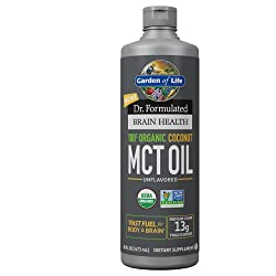 Garden of Life Dr. Formulated Brain Health 100% Organic Coconut MCT Oil 16 fl oz Unflavored, 13g MCT
