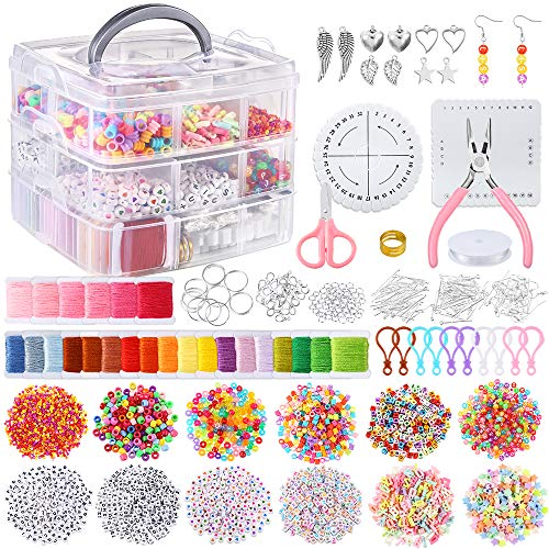 PP OPOUNT 12 Styles Friendship Bracelet Kit with String and Letter Beads, 24 Multi-Color Embroidery Floss, Elastic Nylon Cord, Braiding Disc, Findings for Friendship Bracelets, Jewelry Making