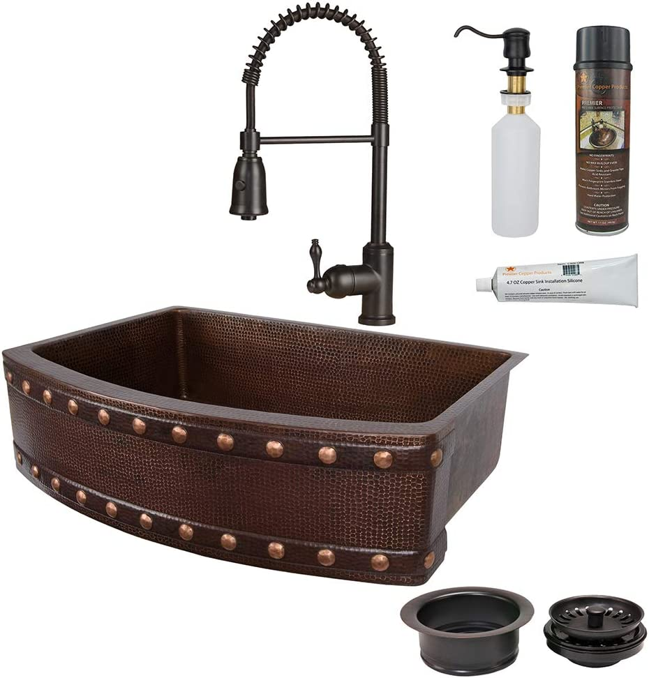 Premier Copper Products KSP4_KASRDB33249BS 33-Inch Kitchen Sink Outlet ☆ Popularity Free Shipping