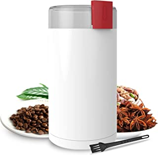 Coffee Grinder, Kaven Electric Coffee Mill with Large Grinding Capacity for Beans, Peppers, Herbs, Spices, Nuts, Grains and More, 150W, White