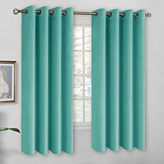 BGment Soft Velvet Curtains for Bedroom, Grommet Energy Efficiency Thermal Insulated Room Darkening Curtains for Living Room, Set of 2 Panels (Each 52 x 63 Inch, Blue Turquoise)