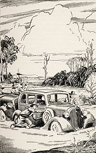 There Was A Crucial Moment When The Sucking Bog Clutched At The Wheel Of The First Car. From The Book Buffalo Jim By William Hatfield Published Circa 1930's. Poster Print (11 x 18)