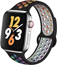OriBear Compatible for Apple Watch Band 40mm Series 5/4, Breathable Silicone Replacement for iWatch Bands 38mm Series 3/2/1, Various Styles and Colors for Women and Men(S/M,Black-Rainbow)