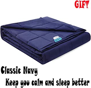LAVEDER Weighted Blanket Adults 15 lbs(60''x80'', Navy ) for Queen or King Size Bed 100% Cotton with Glass Beads