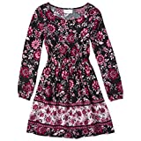 The Children's Place Girls' Big Floral Print Ruffle Pheasant Midi Dress, Black, XS (4)